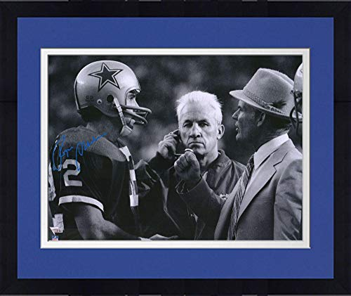 Framed Roger Staubach Dallas Cowboys Autographed 16'' x 20'' Talking with Tom Landry Photograph - Fanatics Authentic Certified