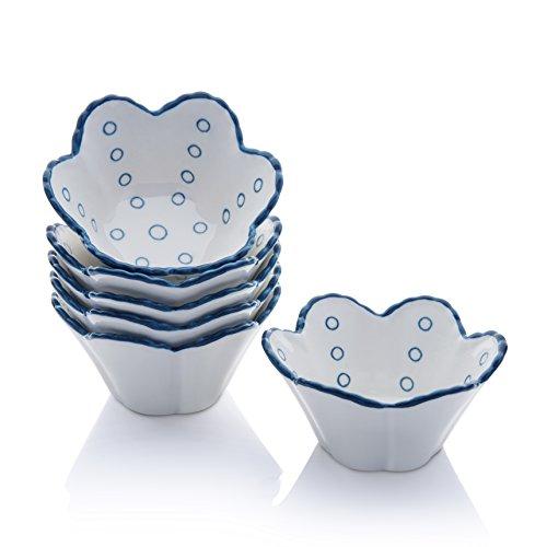 Hoomeet 4 oz Porcelain Ramekins, Dessert Bowls, Ice Cream Bowls, Snack Bowls, Dipping Bowls, Set of 6, Flower Shaped. (Blue Dots) by Hoomeet