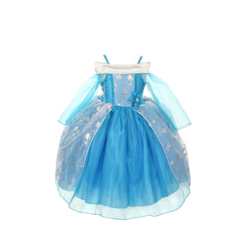 [Cinderella Couture Girls Ice Blue Sparkly Star Print Cape Dress Costume 1-2T] (Cinderella Dress For Toddler)