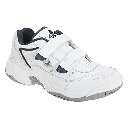 Womens Wide Fit Trainers White & Black Velcro Shoes White bI6Ba
