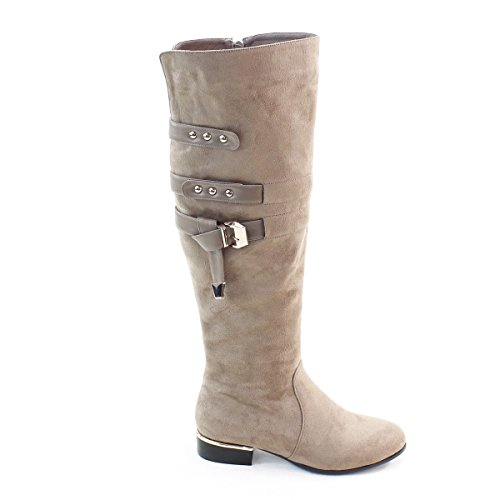 New Brieten Womens Buckles Flats Thigh High Comfort Boots Taupe 8pg7Hr