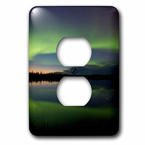 3dRose Danita Delimont - Northern Lights - USA, Alaska, Bettles. Aurora borealis reflects in Vor Lake Waterlane. - Light Switch Covers - 2 plug outlet cover - In Outlet Aurora