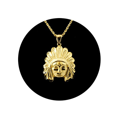 LoveBling 10K Yellow Gold Native American Indian Head Pendant Charm (1.70