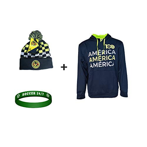 ICON SPORTS Club America Jacket Hoodie Hood Sweater Soccer Futbol + Beanie + Silicone Wristband Set 3 pcs Amer 002 S