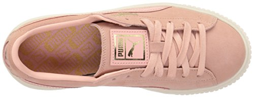 PUMA Womens Suede Platform Core Fashion Sneaker Coral Cloud-whisper White TW4PydBF