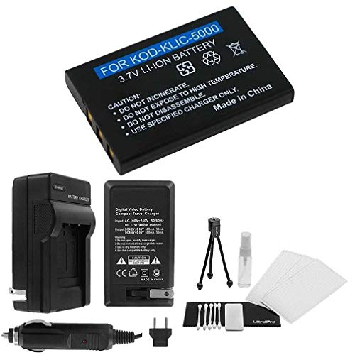 KLIC-5000 High-Capacity Replacement Battery with Rapid Travel Charger for Select Kodak Models. UltraPro Bundle Includes: Camera Cleaning Kit, Screen Protector, Mini Travel Tripod