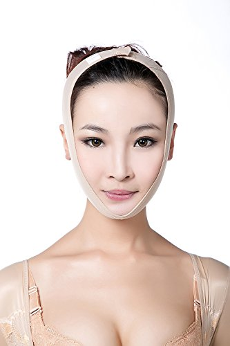 Larrycard Chin Strap for Women Anti Snoring Chin Straps V Face Shaper Mask Face Lifting Slimmer Chin Lift Facial Compression (L, Beige)