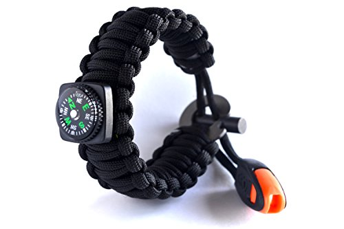 Backpacking/Camping/Hiking Bracelet - Right Sport Emergency 550 Paracord Band Includes 18 Pieces of Survival Gear - Whistle, Compass, Bottle Opener, Fire Starter, Knife and More in Kit (Bottle Opener Whistle)