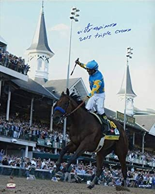 American Pharoah signed 16X20 Photo 2015 Kentucky Derby Horse Racing Triple Crown insc with Victor Espinoza- Holo - Steiner Sports Certified