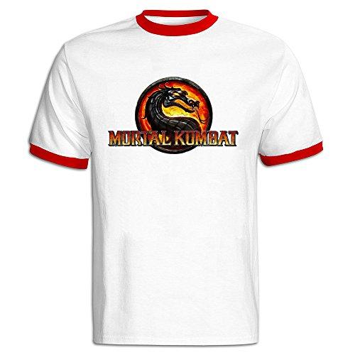 Sub Zero Mortal Kombat X Costume (TIKE Men's Mortal Kombat Jurassic Style Short Sleeve Ringer Tshirt Color Red Size XXL)