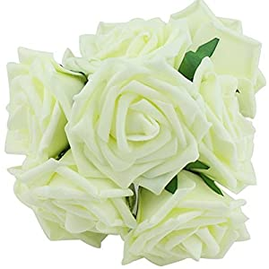 Yonger 10 pcs Artificial Silk Latex Rose Flowers Decoration Bridal Wedding Bouquets with Pole 88