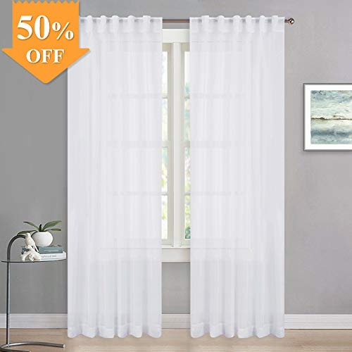 (RYB HOME White Sheer Curtain Voile Panels, 2 Hanging Methods Rod Pocket/Back Tab, Window Covering Drapes for Small Window/Bedroom/Nursery, Wide 54 x Long 63 inch, 2 Pieces)