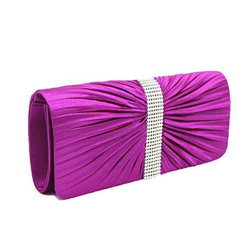 Moda Plisados Bolsos De Tarde Cristales Rhinestone Monedero Cartera Multicolor Purple