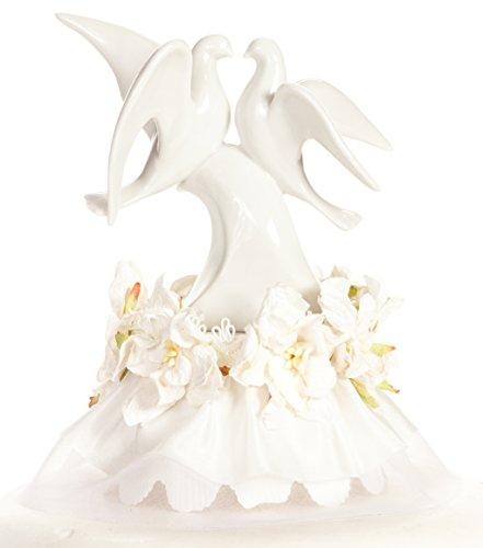 - Vintage Gardenia Flower Dove Cake Topper: Skirt Color: White