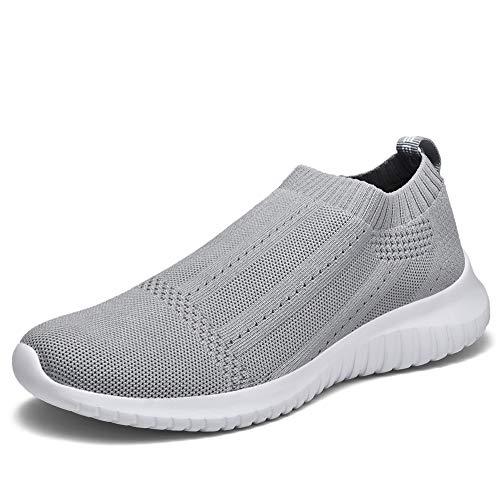 TIOSEBON Women's Walking Sock Shoes Lightweight Mesh Slip-on- Breathable Yoga Sneakers 8.5 US Light Gray (Light Gray Footwear)
