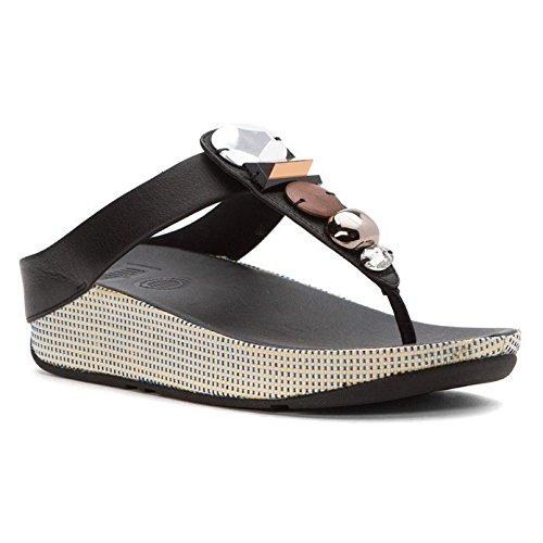 FitFlop Women's Jeweley Toe-Post Flip Flop, black, 6 M US