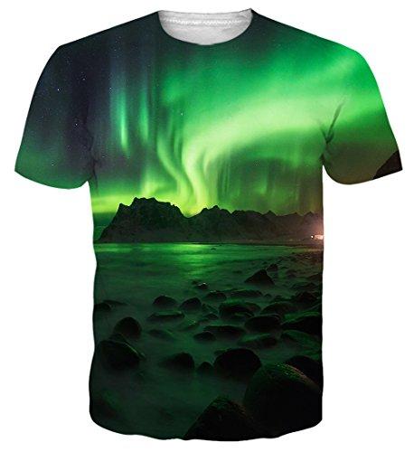Teen Boys 3D Digital Printed Green Aurora Short Sleeve T-Shirts Tees XL ()