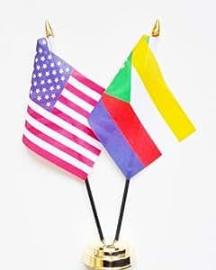 Estados Unidos de America y Comoras bolas de cristal pantalla de la bandera de mesa 25 cm