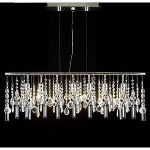 "Modern Contemporary Linear Chandelier Lighting Lamp W/ Crystal H58"" X W38"""