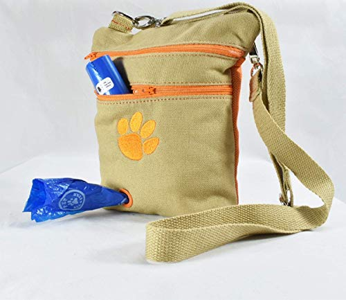 (The Dog Walking Bag | Training Treat Pouch with Built-in Poop Bag Dispenser - For Puppy & Adult Outdoor Potty & Travel - Easily Carries Pet Toy, Kibble, Treats, Water - FREE POO BAGS - FREE SHIPPING)