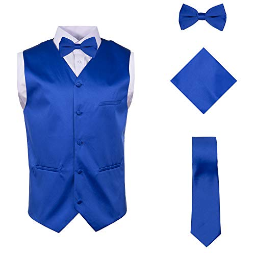 Vittorino Mens 4 Piece Formal Vest Set Combo with Tie Bow Tie and Handkerchief, Royal, X-Large