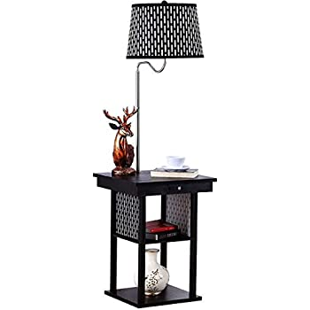 Konesky Floor Lamp With End Table Swing Arm Shade With