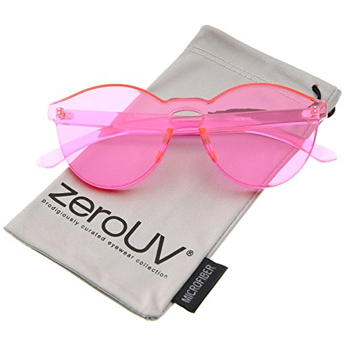 One Piece PC Lens Rimless Ultra-Bold Colorful Mono Block Sunglasses 60mm (Light ()