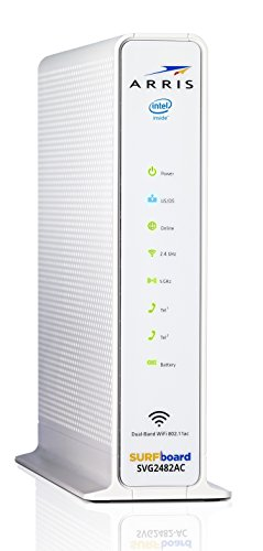 ARRIS Surfboard Docsis 24X8 Cable Modem / Telephone / AC1750 Router Certified for XFINITY - Download Speed: 1 Gbps (SVG2482AC) 4 Three-in-one DOCSIS 3.0 Cable Modem + AC1750 WiFi Router + Xfinity telephony