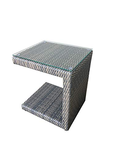 All Weather Outdoor Wicker Lounge Chair Side Table with Tempered Glass Top – 16 Wide x 18 Deep x 22 Tall Grey Two Tone