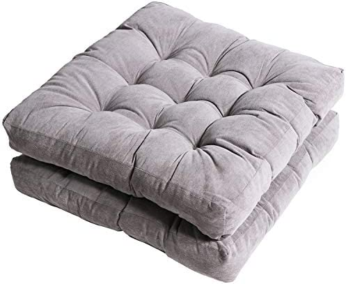 Tiita Outdoor Chair Cushions 22 x 22 Square Seat Pillows Set of 2 Throw Floor Pads for Patio Garden Furniture Chairs Office Livinh Room, Grey