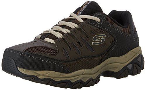 Skechers Sport Men's Afterburn Memory Foam Lace-Up Sneaker, Brown/Taupe, 14 4E US