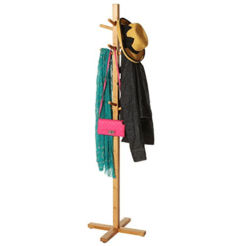 MyGift Entryway Bamboo Wood Garment Rack, Freestanding Coat Hat Stand with 12 Hooks