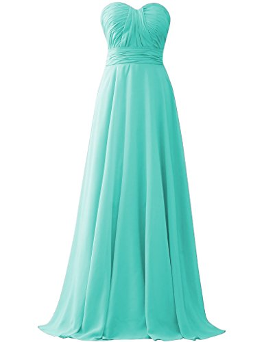 Turquoise Long Cdress Dresses Gowns Floor Wedding Bridesmaid Length Chiffon Party Sweetheart v6nta6xq