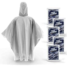 Hagon Pro Disposable Rain Ponchos for Adults (5 Pack) Premium Quality 50% Thicker – 100% Waterproof Emergency Rain Ponchos with Hood – for Concerts, Amusement Parks, Camping