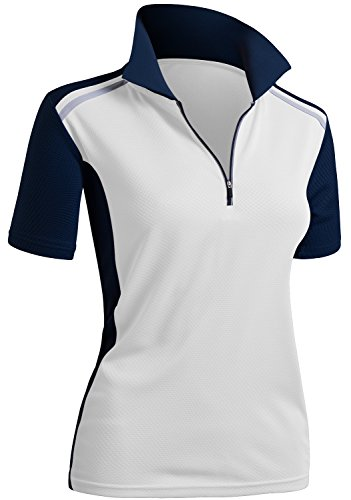 - CLOVERY Breathable Functional Coolmax Fabric Short Sleeve Zipup Polo Shirt Whitenavy L