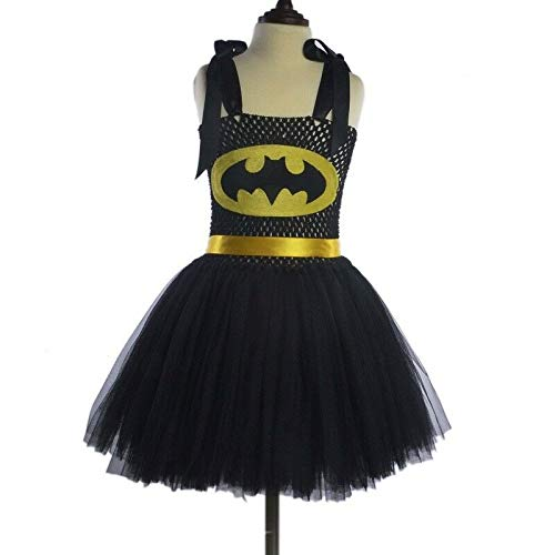 FidgetKute Kids Cosplay Costume Superhero Girl Tutu Dress Classic Fantasy Halloween Party Batman2 3T]()