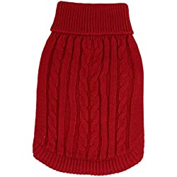 Uxcell Ribbed Hem Twisted Knitwear Turtleneck Pet Apparel Sweater, Red, Small