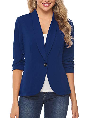 iClosam Women Blazer Jacket 3/4 Ruched Sleeve Open Front Lightweight Work Office Cardigan (Royal Blue, Large)