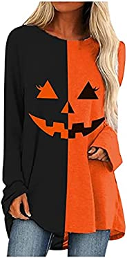 morecome Women's Plus Size Halloween Basic T-Shirt, Funny Pumpkin Print Pullover Long Sleeved O-Neck Tops