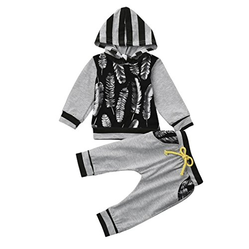 LUNIWEI Baby Boy Girl Clothes Long Sleeve Striped Hooded Romper Jumpsuit (9-12 Months, Gray 3)
