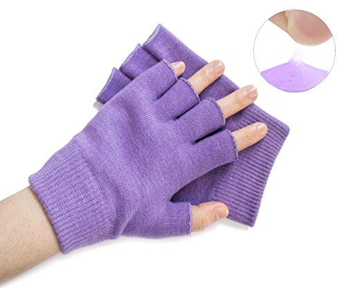 Hocee Moisturizing Gel Gloves Touch Screen Spa Moisture Skin Care Soft Cotton with Gel Repair Heal Eczema Cracked Dry Hand, Gel Lining Infused with Essential Oils and Vitamins, A Pair (Purple) by Hocee (Image #7)