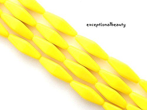 20 Jablonex Czech Bright Opaque Sunny Yellow Glass 20mm Long Double Cone Beads