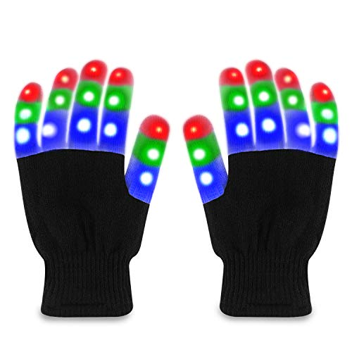 TOBEHIGHER LED Gloves - Light Up Gloves, Finger Lights 3 Colors & 6 Modes, Novelty Light - Up Toys, Perfect for 8+ Teens & Adult, Glow in The Dark, Extra Batteries & Fun for Party, Rave, Christmas