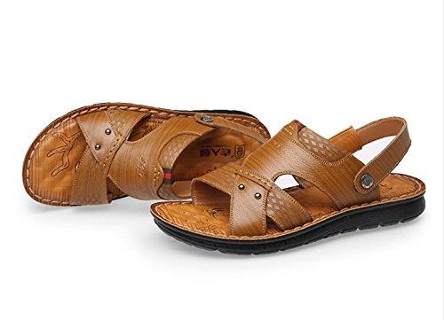 Xing Lin Sandalias De Hombre Sandalias Hombres Verano Nuevo Calzado De Playa Sandalias De Cuero Transpirable Y Pantuflas Sandalias De Hombres Jóvenes Khaki