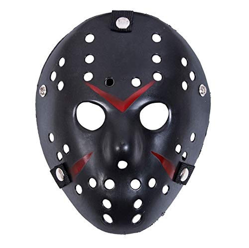 Limado Halloween White Porous Men Mask Jason Voorhees Freddy Horror Movie Hockey Scary Masks for Party Women Masquerade Costumes (Black)