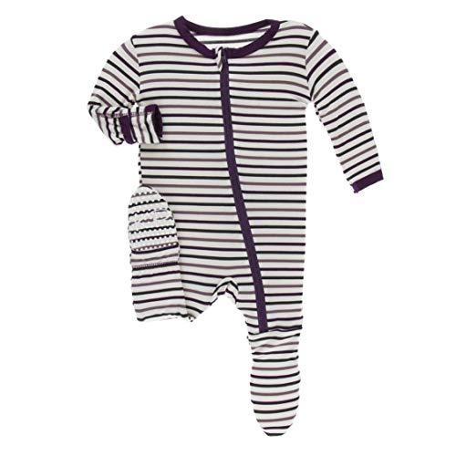 Kickee Pants Little Girls and Boys Print Footie with Zipper - Tuscan Vineyard Stripe, 18-24 Months