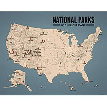 Amazon.com: Best Maps Ever US National Parks Map 11x14 Print (Tan ...