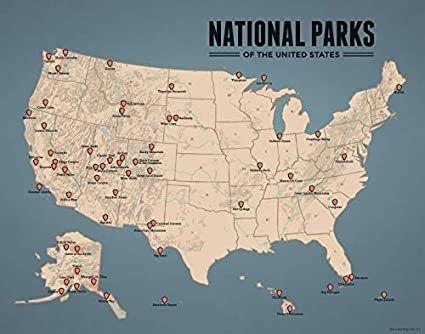 National Park Map Usa Amazon.com: Best Maps Ever US National Parks Map 11x14 Print (Tan