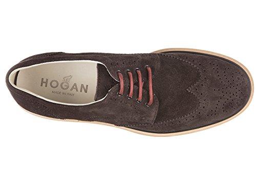 Hogan chaussures à lacets classiques homme en daim nuove derby h 217 route marro