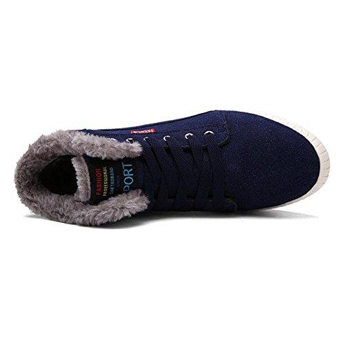 Herren Winterschuhe Boots Winter Warm Schneestiefel Winterstiefel Gefütterte Outdoor Stiefel Stiefelette Stil2-Blau
